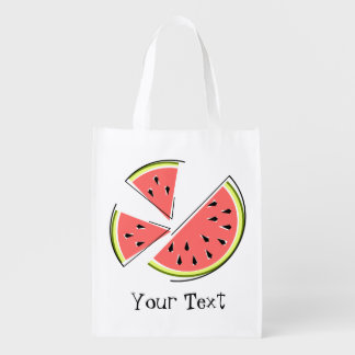 Watermelon Pieces Text reusable bag