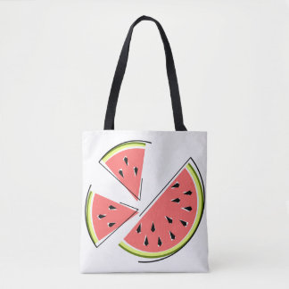 Watermelon Pieces tote bag striped back