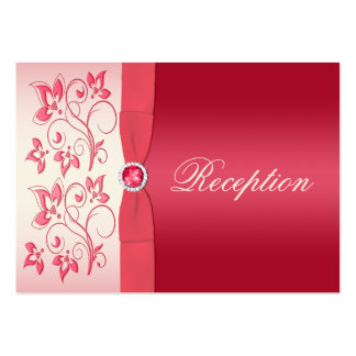 Watermelon Pink and Ivory Floral Enclosure Card Business Card Template