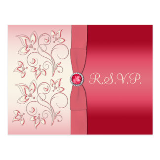 Watermelon Pink and Ivory R.S.V.P. Postcard