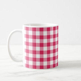 Watermelon Pink Gingham Checked Pattern Coffee Mug