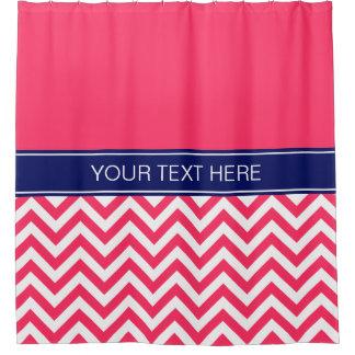 Watermelon Pink LG Chevron CB Navy Name Monogram Shower Curtain