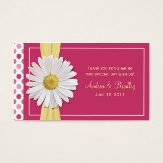 Watermelon Pink Shasta Daisy Wedding Favor Tag