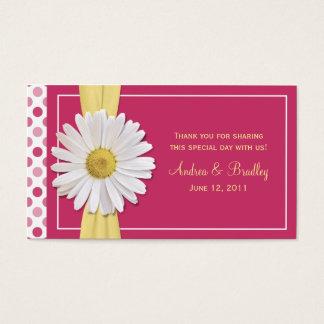 Watermelon Pink Shasta Daisy Wedding Favor Tag Business Card
