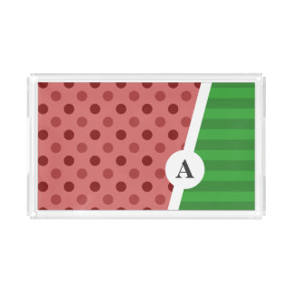 Watermelon Polka Dot and Stripe Pattern Acrylic Tray