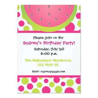 Watermelon Polka Dot Invitation