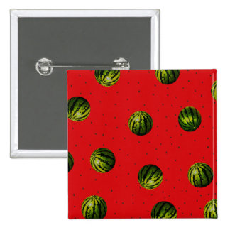 watermelon red and seeds 15 cm square badge
