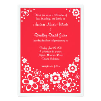 Watermelon Red and White Floral Wedding 13 Cm X 18 Cm Invitation Card