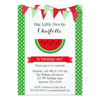 Watermelon Red Green Bunting Birthday Party 13 Cm X 18 Cm Invitation Card