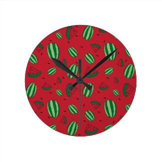 Watermelon Red Pattern Round Clock