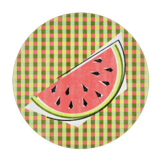 Watermelon Slice Check cutting board round