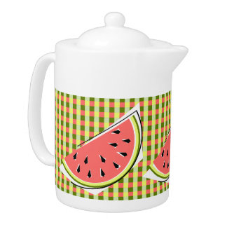 Watermelon Slice Check teapot