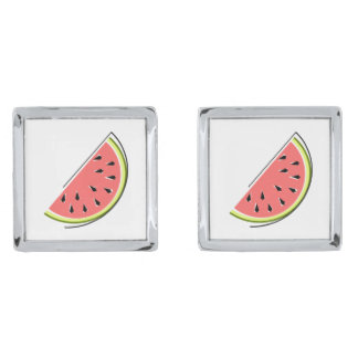 Watermelon Slice cufflinks Silver Finish Cuff Links