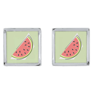 Watermelon Slice Green cufflinks Silver Finish Cufflinks