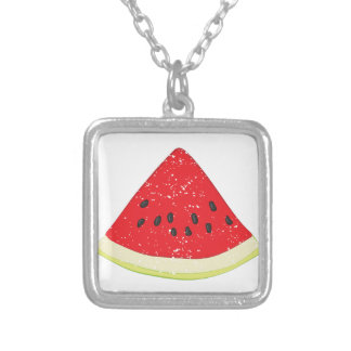 Watermelon Slice Silver Plated Necklace
