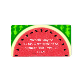 Watermelon Slice Summer Fruit with Rind Label