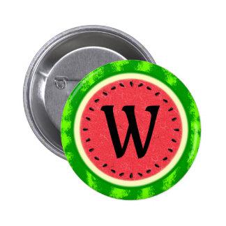 Watermelon Slice Summer Fruit with Rind Monogram 6 Cm Round Badge