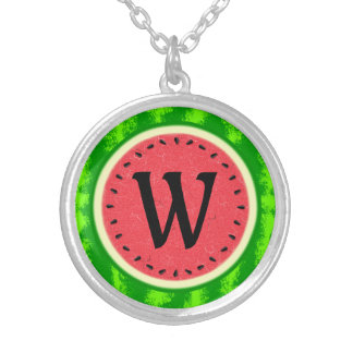 Watermelon Slice Summer Fruit with Rind Monogram Round Pendant Necklace