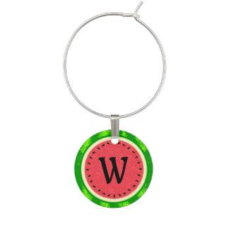 Watermelon Slice Summer Fruit with Rind Monogram Wine Charm