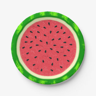 Watermelon Slice Summer Fruit with Rind Paper Plate