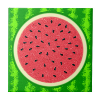 Watermelon Slice Summer Fruit with Rind Ceramic Tiles