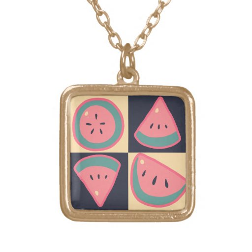 Watermelon Slices - Checkered Pattern Custom Necklace