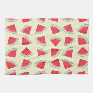 Watermelon Slices on Yellow Tea Towel