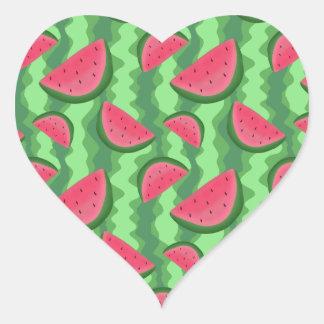 Watermelon Slices Pattern Heart Sticker