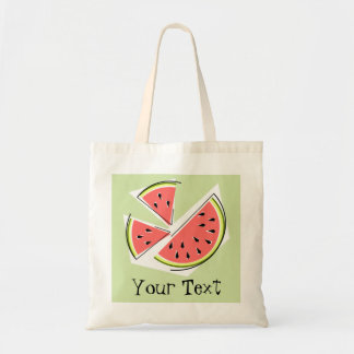 Watermelon Slices 'Text' tote bag green