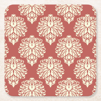 Watermelon Southern Cottage Damask Square Paper Coaster
