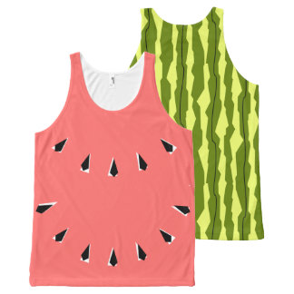 Watermelon Stripe all over tank top pink front All-Over Print Tank Top