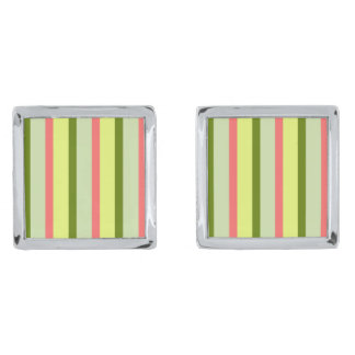 Watermelon Stripe Classic cufflinks Silver Finish Cuff Links