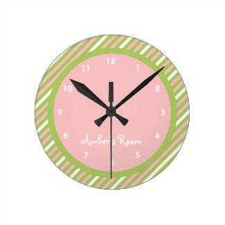 Watermelon Stripe Kid's Bedroom Wall Clocks