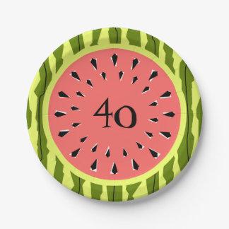 Watermelon Stripe Pink 40 Age paper plates