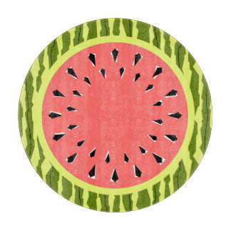 Watermelon Stripe Pink cutting board round
