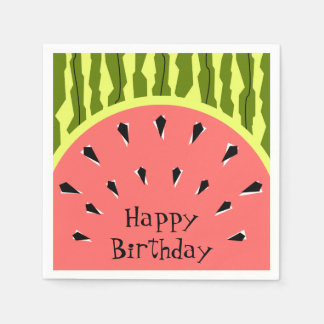 Watermelon Stripe Pink Happy Birthday paper Paper Napkins
