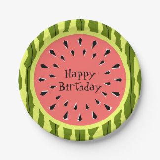 Watermelon Stripe Pink Happy Birthday paper plates