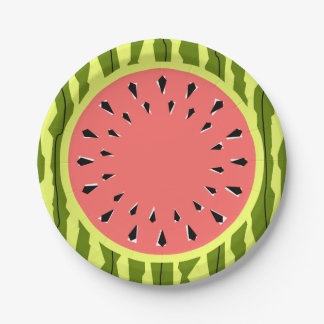 Watermelon Stripe Pink paper plates