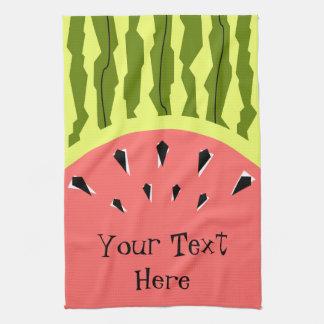 Watermelon Stripe Pink Text kitchen towel vertical
