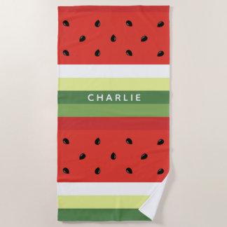 Watermelon Stripes custom name beach towel