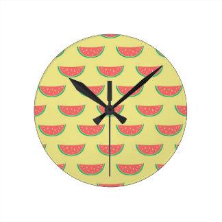 watermelon summertime pattern round clock