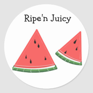 Watermelon that's Ripe'n Juicy Classic Round Sticker