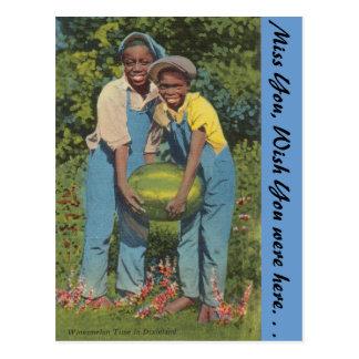 Watermelon time in Dixieland Postcard