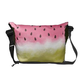 Watermelon watercolor pattern messenger bags