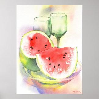 Watermelon watercolor poster