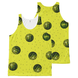 Watermelon with seeds yellow All-Over print tank top