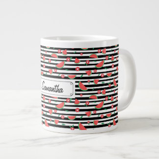 Watermelons and stripes large coffee mug