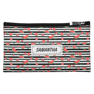 Watermelons and stripes makeup bag