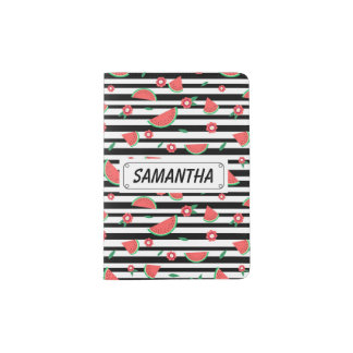 Watermelons and stripes passport holder