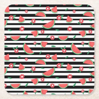 Watermelons and stripes square paper coaster